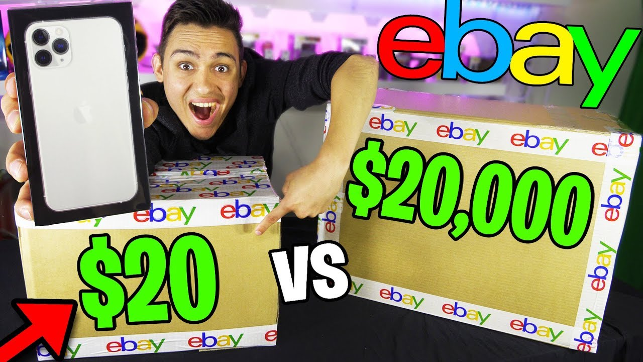 20 Vs 20 000 Ebay Mystery Box Omg Iphone 11 Pro In A 20 Box Huge Giveaway Youtube