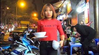 The Nightlife Street Scene in Hanoi, Vietnam