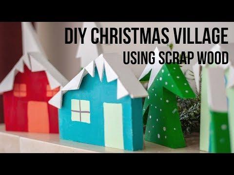 DIY Christmas Village using scrap wood