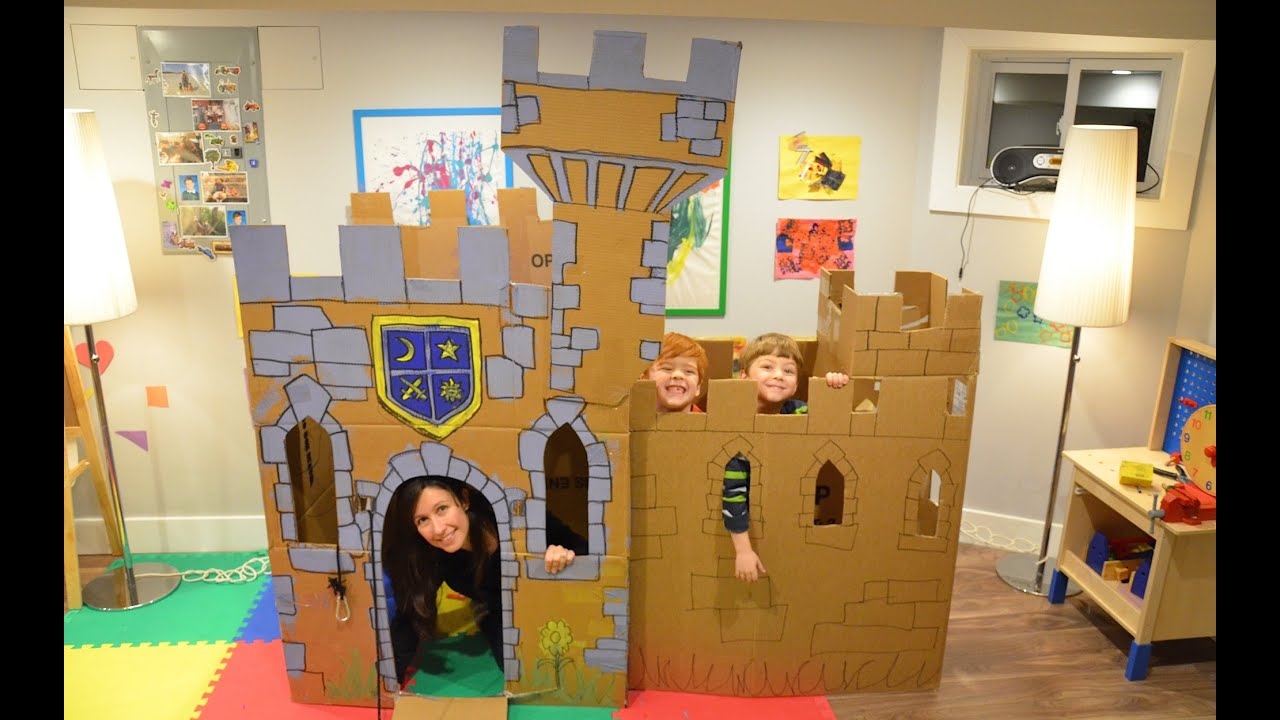 Build a cardboard castle fort youtube for Castle made out of cardboard boxes