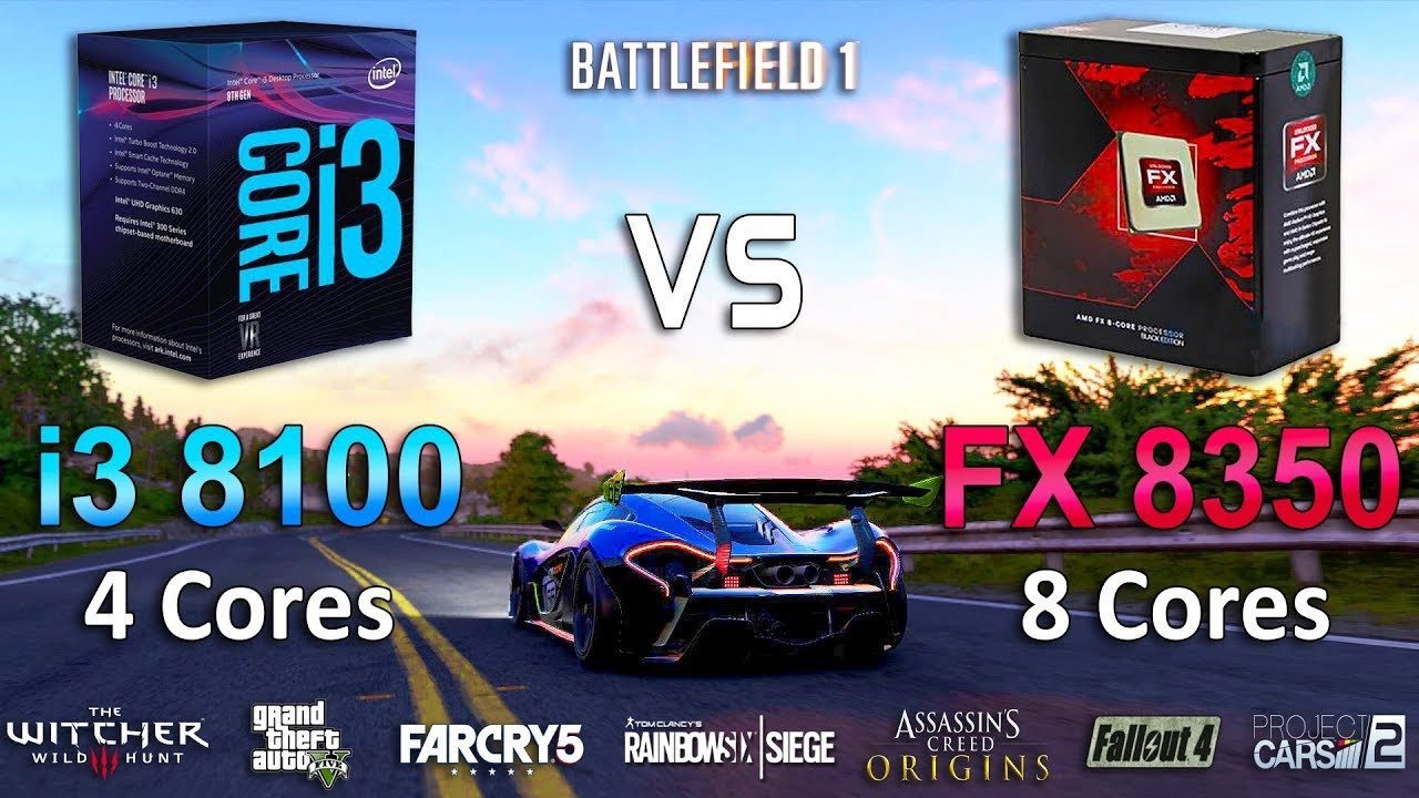 FX 8350 vs i3 8100 Test in 8 Games