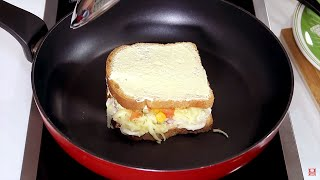 Lanche de Sanduíche de Pizza de Pão na Frigideira em 2 Minutos