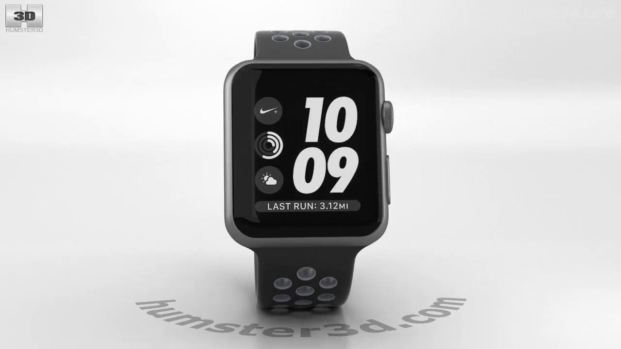 2b7e88d59f278b Apple Watch Nike+ 38mm Space Gray Aluminum Case Black Cool Nike Sport Band  3D model by Hum3D.com