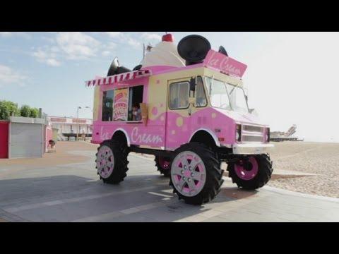 The biggest ice cream van in the world: Monster truck ice cream van by Skoda