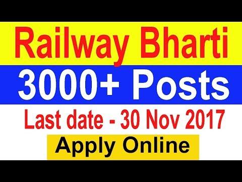 #Railway Jobs , 3550 Posts , Apply Online ,#Indian Railway Recruitment  2017