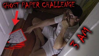 (WHATS BEHIND THE DOOR) PLAYING THE GHOST PAPER CHALLENGE AT 3 AM