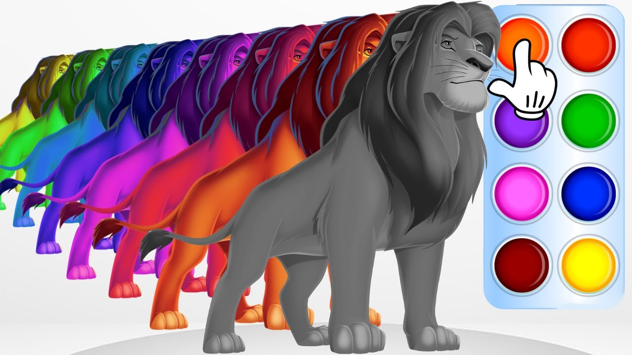 learn colors with lion king simba disney learning color