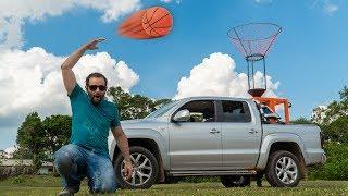 Experiência: canhão jogando basquete com carro