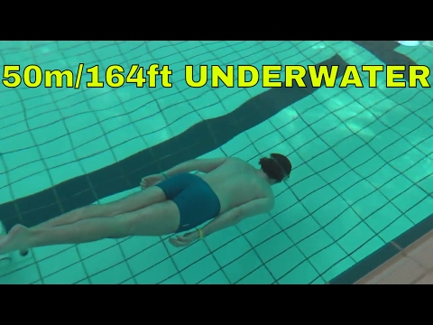 Swimming 50 m under water In a pool - Swimming test 164 ft