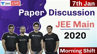 JEE Mains 2020 - Paper Solution | Discussion | 7th Jan- Morning | Unacademy JEE