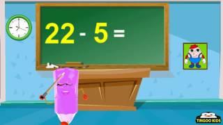 HomeSchool Tutorial | Subtract 22 Table | Kids Math Education Song (English Language)