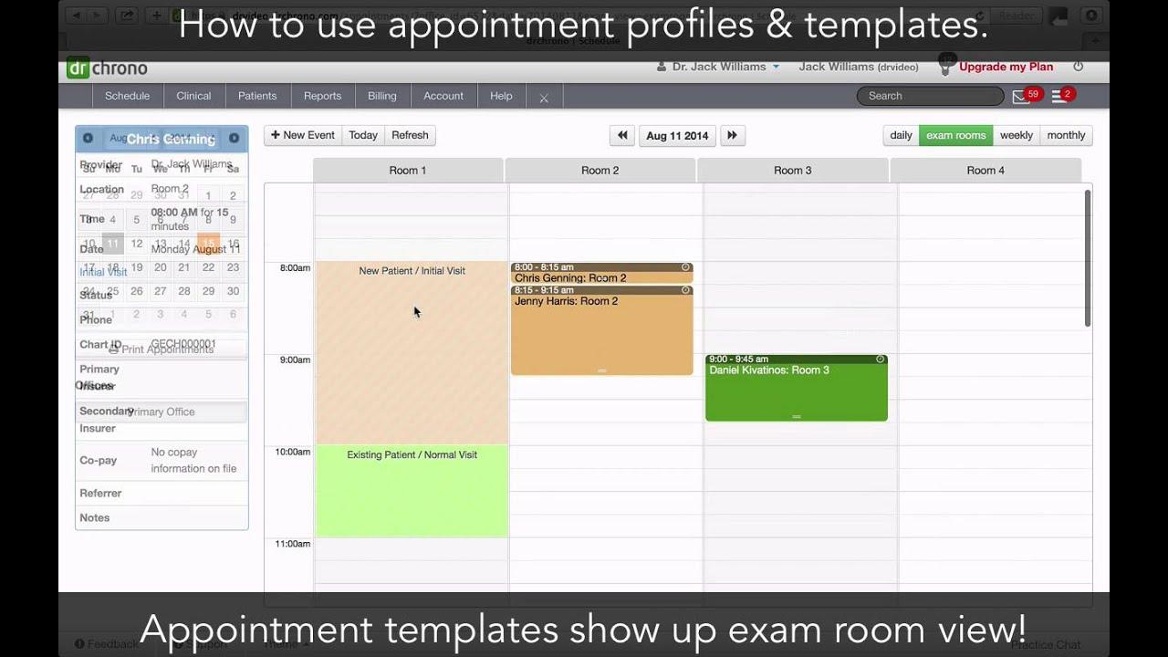 tutorial appointment profiles templates drchrono ehr youtube