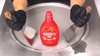 Hershey's Syrup - I¢e Cream Rolls | how to make Strawberry Sauce to rolled fried Ice Cream / ASMR