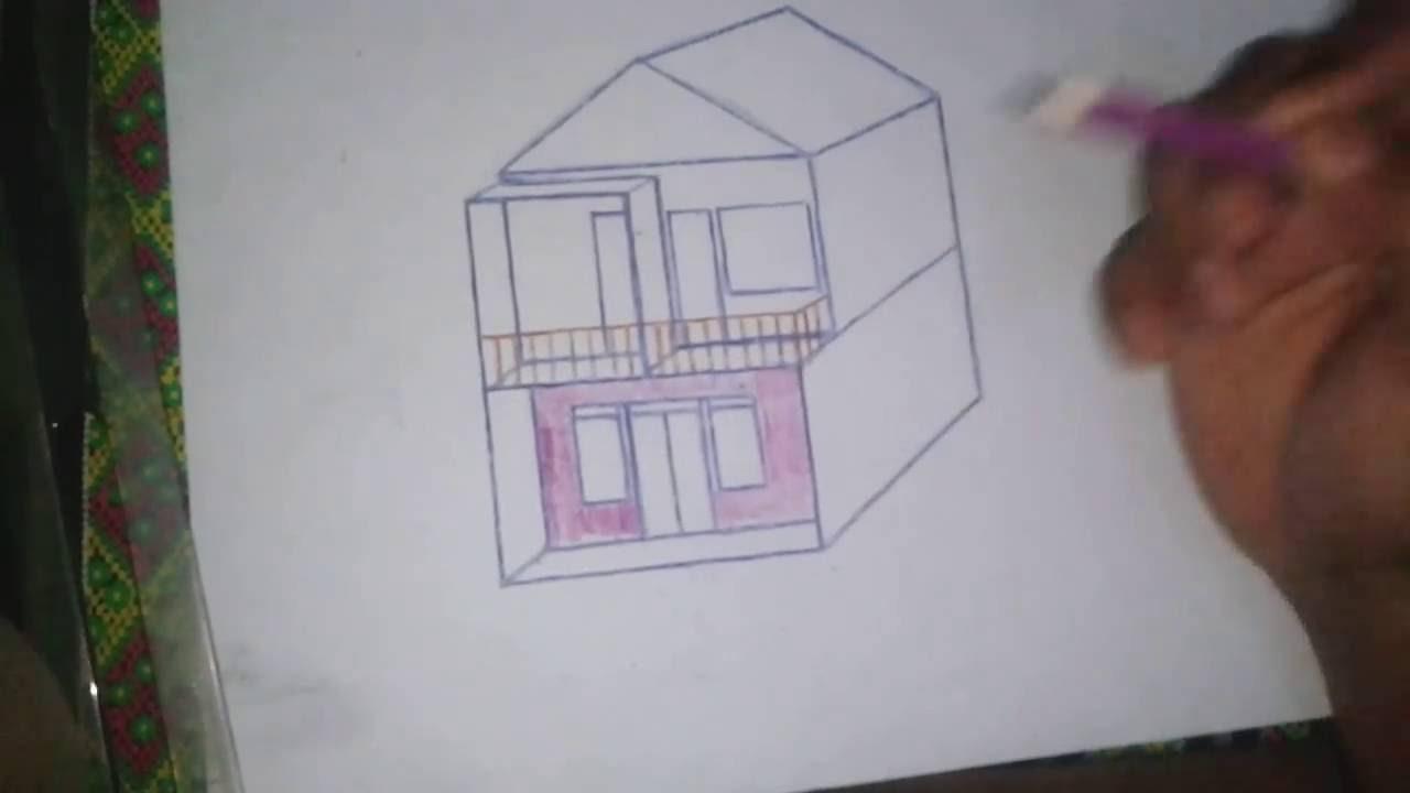 Cara Menggambar Rumah Dengan Pensil Youtube