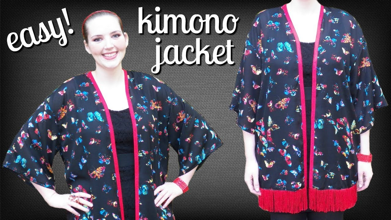 How To Make A Kimono Jacket Easy Diy Kimono Cardigan Sewing Projects For Beginners Youtube