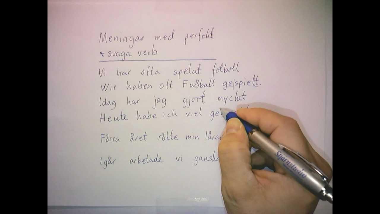 Ty 3: Perfekt av svaga verb (övning)