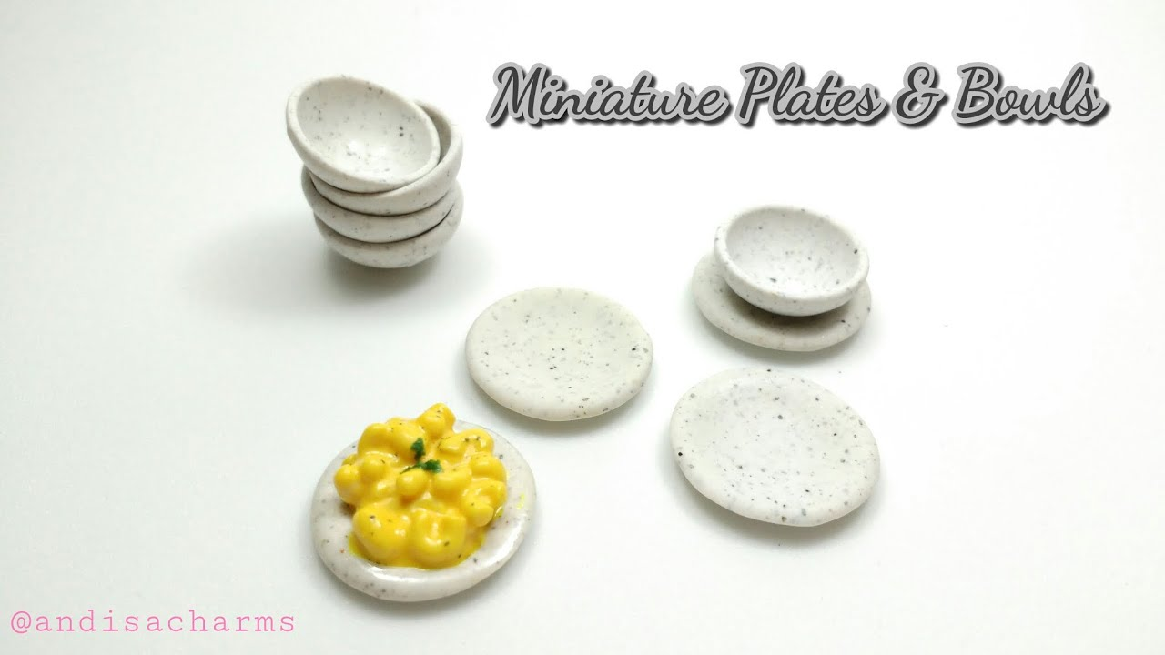 miniatutre plates and bowls : easy polymer clay tutorial : 1.12