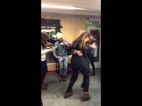 Dancing highlands in a cafe