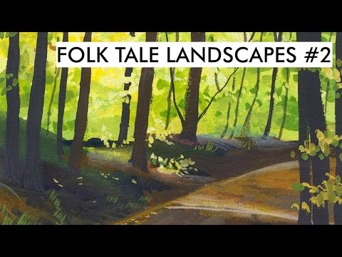 Folk Art Landscapes #2   Painting a light filled forest in gouache