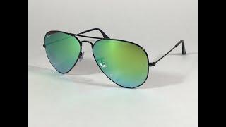 8b6316b041 Ray-Ban Aviator Sunglasses RB3025 002 4J Black Green Gradient Flash Mirror  Lens ...