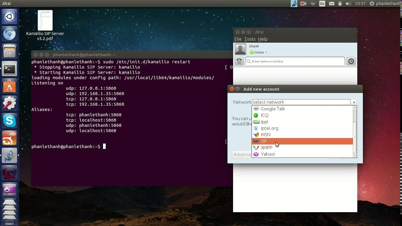 Test Kamailio Server with Jitsi Client (SIP Software)