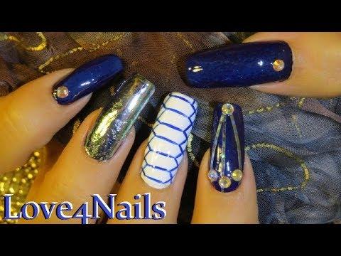 Unas Decoradas Con Cristales Cinta Y Aluminio Azul Y Blanco Youtube