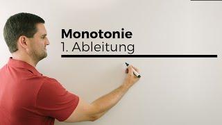 Monotonie, Monotonieverhalten mit 1. Ableitung, Mathehilfe online, Erklärvideo