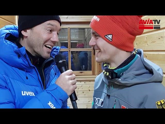 Stephan Leyhe nach seinem 2. Platz im Einzelspringen in Wisla
