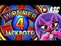 *SUPER FREE GAMES + RETRIGGER!* WONDER 4 JACKPOTS™ MISS KITTY  | Slot Machine Bonus Win (Aristocrat)