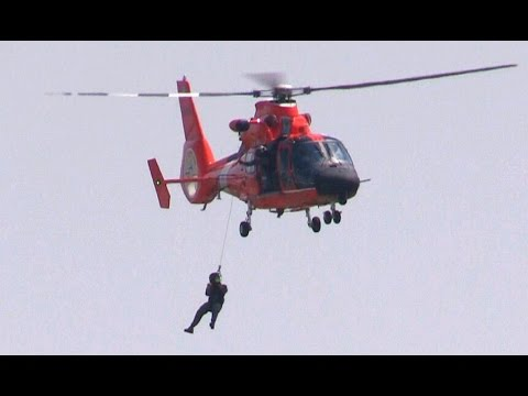 US Coast Guard HH-65 Dolphin Helicopter In Rescue Drill At Melbourne, 2015
