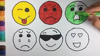 Kn cheno vẽ và tô màu cho bé - vẽ mặt cười mếu khóc - đồ trơi trẻ em