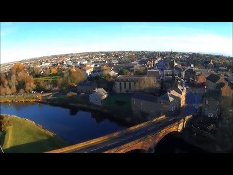 Aerial views of Annan river and Harbour on the Solway Coast SW Scotland