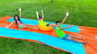 Water Slide Challenge with HZHtube Kids Fun - Heidi and Zidane