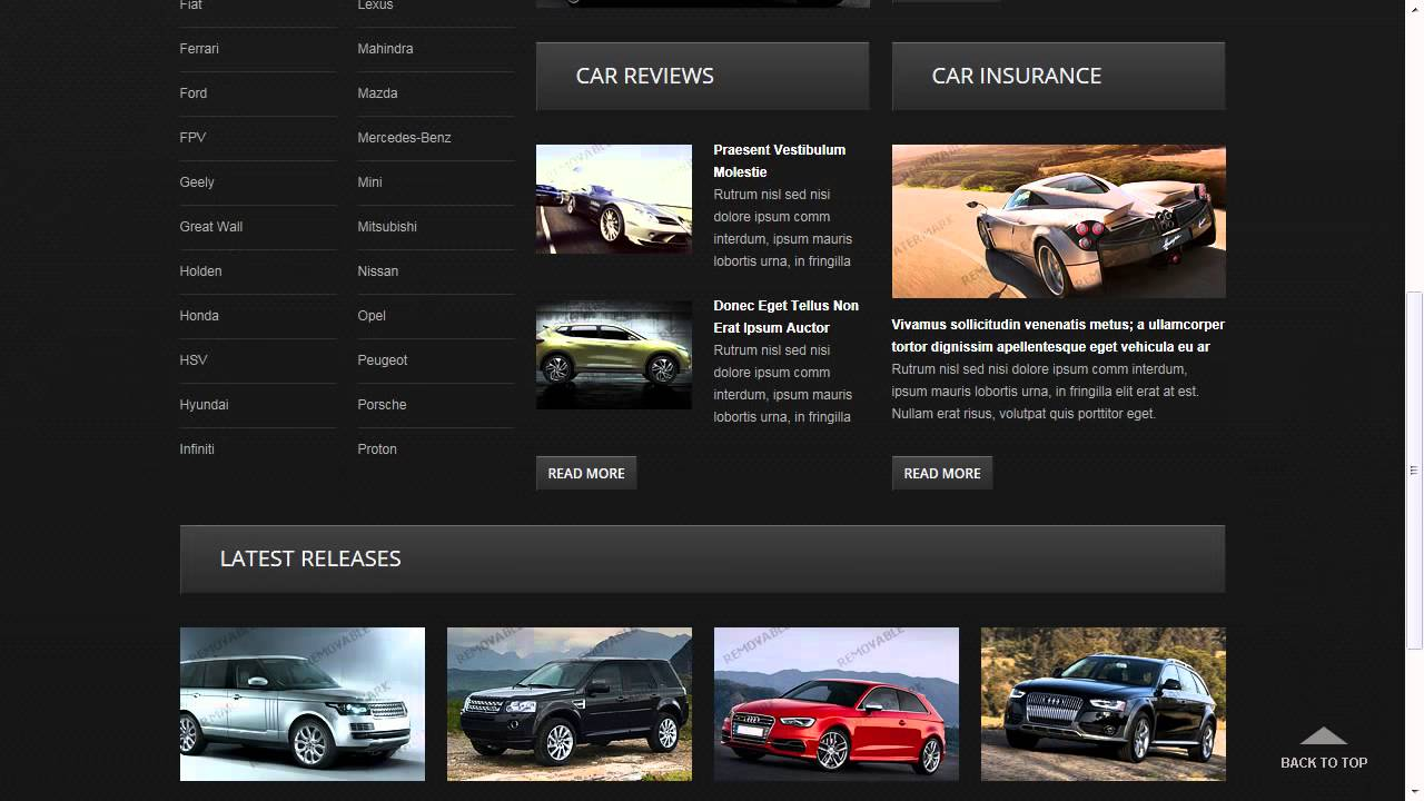 Used Car Dealer Website Template