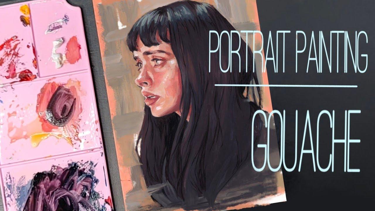 Portrait painting with Himi/Miya gouache