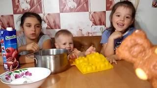 МИШКА БАРНИ и ДЕТИ Сами готовят ЖЕЛЕЙНЫЙ МЕДВЕДЬ ВАЛЕРА  Дети готовят Желе из желатина БАЛУЕМСЯ