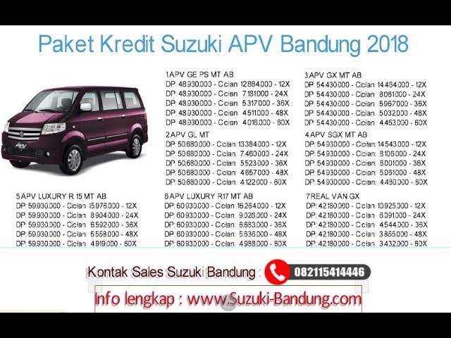 Kredit Suzuki APV Bandung Oktober 2018 | Info: 082121947360