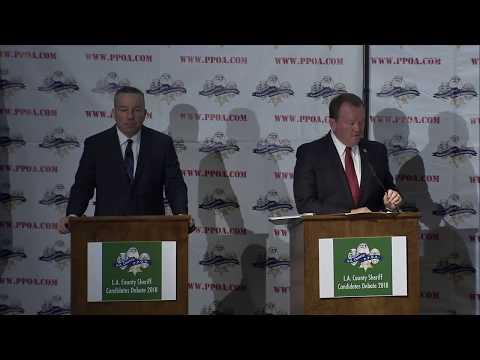 LA Sheriff McDonnell debates November opponent Villanueva in downtown