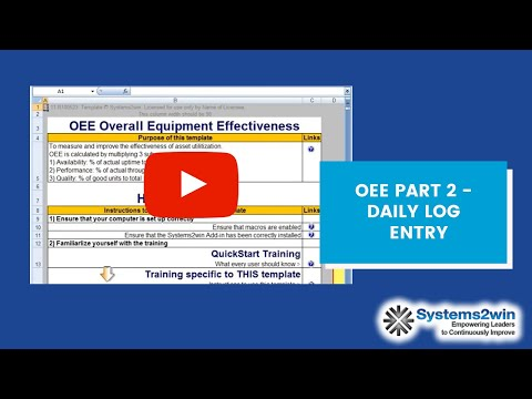 Oee Part 2 Daily Log Data Entry Youtube