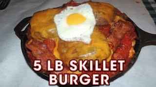 Rudy's Challenger Burger 5lb Spicy Cheeseburger Skillet - Food Challenge