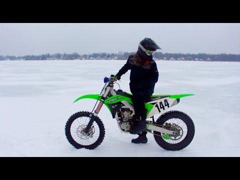 KX450 WIDE OPEN ON ICE