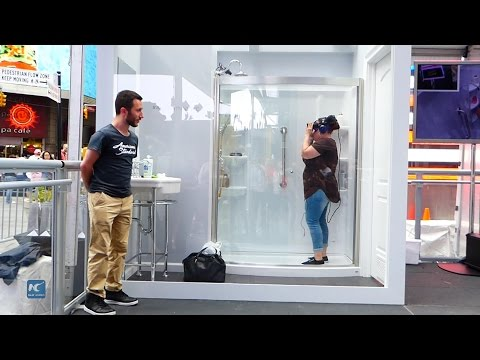Sing in the shower in VR bathroom at Time Square