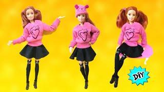 Como Hacer esta ROPA para Barbie ESTILO Gato:Medias, falda, Suéter y Gorro!!🐱