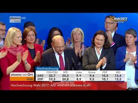 Bundestagswahl 2017: Rede von Martin Schulz zu den vorläufigen Wahlergebnissen vom 24.09.2017
