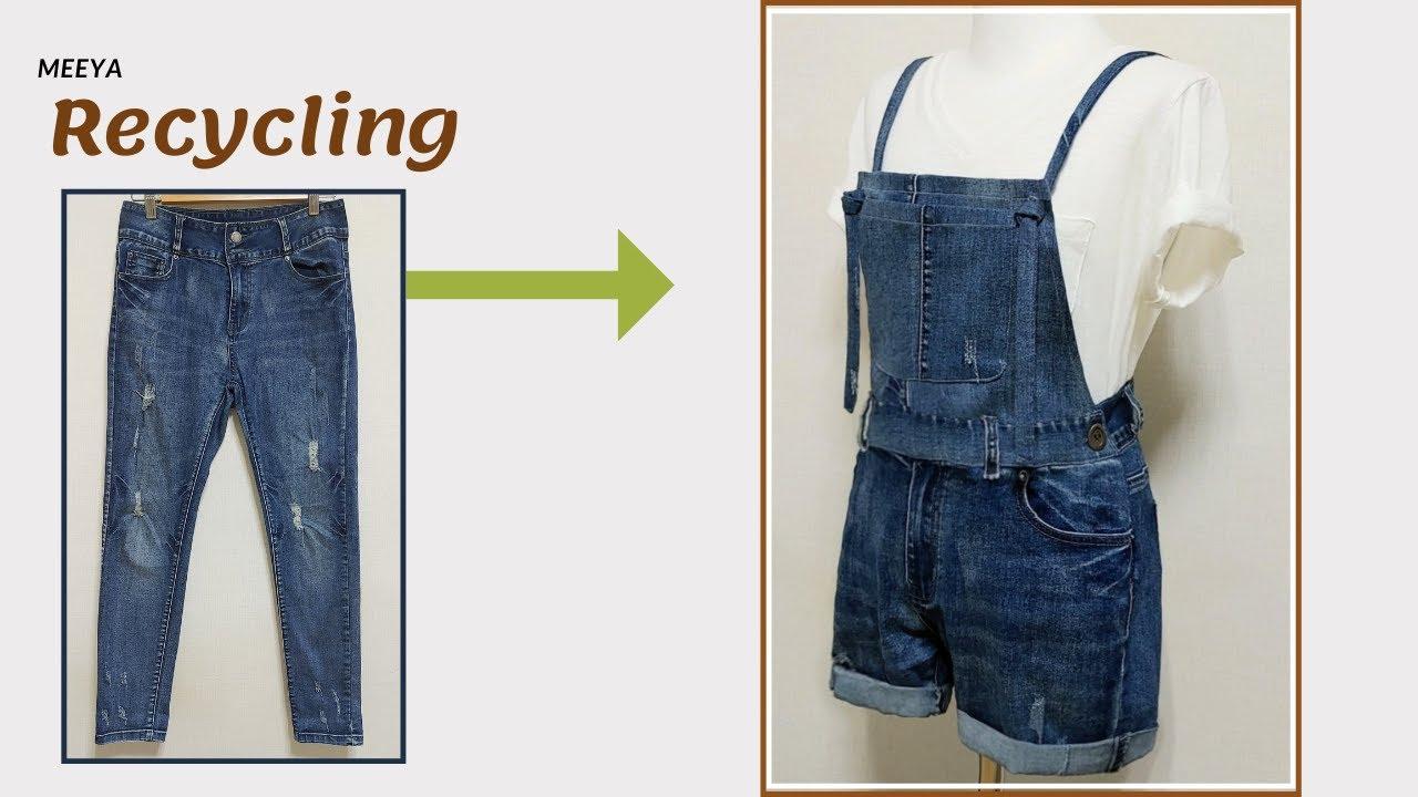 DIY Recycling Jeans|청바지리폼|Jumpsuit|멜빵바지|점프슈트|Reform Old Your Clothes|옷만들기|데님 반바지|Denim|옷수선|Refashion