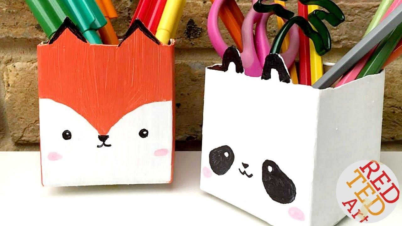 kawaii juice carton pen pots stationery diy back to school
