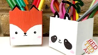 Kawaii Juice Carton Pen Pots - Stationery DIY - Back to School Crafts