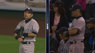 Two Ichiro doppelgangers warm up in stands