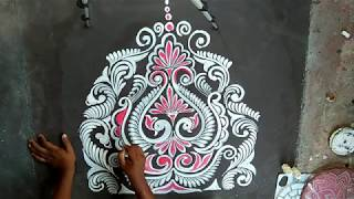 FREEHAND ALPANA DESIGNS/KOLAM WITH BRUSH EFFECTS/ RANGOLI DESIGNS/ HOW TO DRAW ALPANA DESIGNS