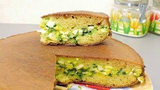 Заливной пирог на кефире с яйцом и зеленым луком /// Быстро и вкусно!